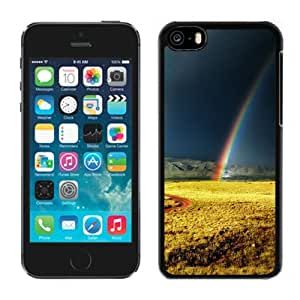 Beautiful Unique Designed iPhone 5C Phone Case With Rainbow After Storm Yellow Field_Black Phone Case