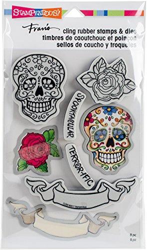 STAMPENDOUS Sugar Skull Cling Stamp and Die Set (Skull Stamp)