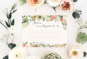 Gender Neutral Keepsake Or Guest Book Alternative for Your Baby Registry Gift Idea Perfect to Fill-in Good Wishes and Ideas for New Moms 40 Pack Floral Baby Shower Advice Cards for Parents to Be