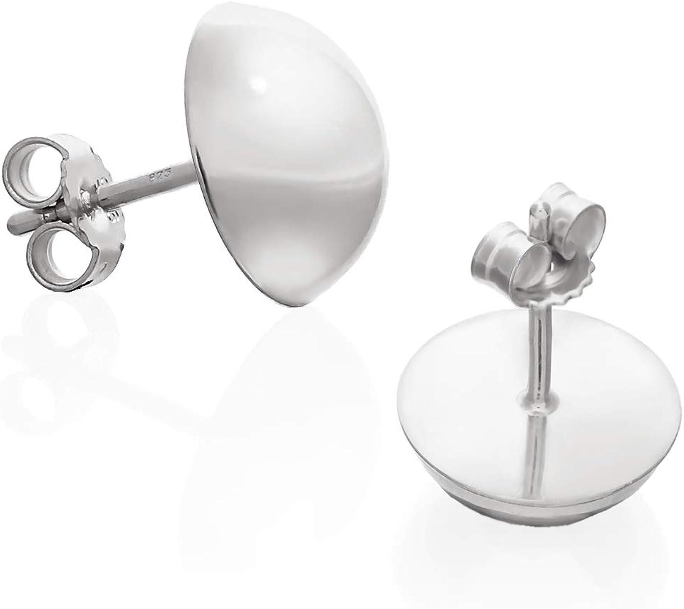 Pareja de pendientes de 10mm de NKlaus Pendientes de media bola de plata esterlina para damas 9222