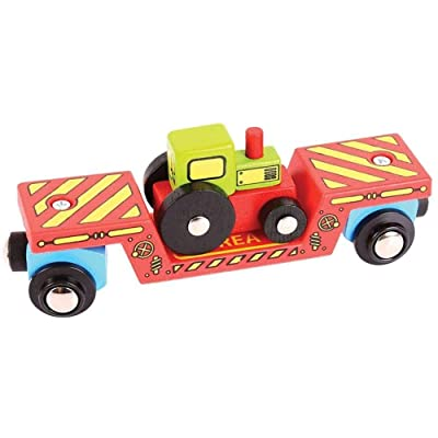 Bigjigs Rail Tractor Low Loader - Other Major Wooden Rail Brands are Compatible: Toys & Games