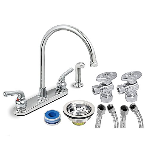 EverFlow Two Handle Kitchen Faucet Complete Installation Kit KFKT17188-20 Chrome Finish Sprayer w/ 20-Inch Long Braided 1/2''  X 3/8'' Supply Lines, Stainless Steel Angle Stops & Lead-Free Sink Strainer by Everflow Supplies