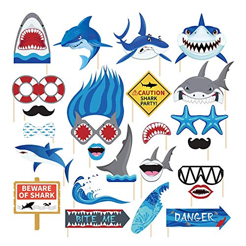 25 Pcs Shark Photo Props for Photo Booths,Shark Party or Birthday Party Photo Booth Props Kit,Shark Birthday Party Decorations Supplies -