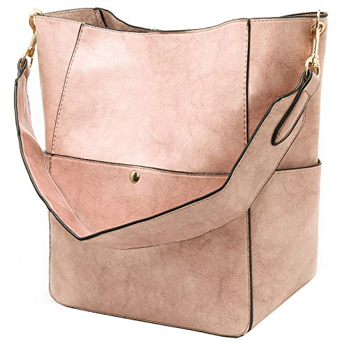 Molodo Womens Satchel Hobo Top Handle Tote Leather Handbag Designer Shoulder Purse Bucket Crossbody Bag(Pink)