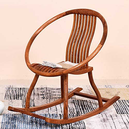 - HYYTY-Y Single Solid Wood Rocking Chair, Widened Back Chinese Style Leisure Chair - Rosewood 609-YY