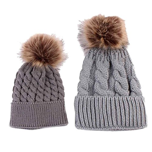 [Sunbona Mom and Baby Matching Knitting Hat Cap Winter Warm Cute Pur Pom Pom Beanie Hat (Gray)] (Matching Costumes For Mom And Baby)