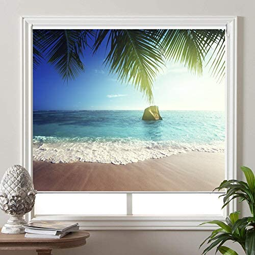 PASSENGER PIGEON Blackout Window Shades, Premium UV Protection Water Proof Custom Roller Blinds, Printed Picture Window Roller Shade 72 W x 96 L, SEA-5