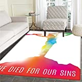 Quote Rugs for Bedroom Abstract on the Cross Scenery with Message of Inspiration Bible Catholic Faith Belief Circle Rugs for Living Room 4'x5' Multicolor