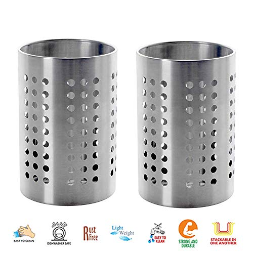 (Set of 2 Stainless Steel Cutlery Holder, Flatware Organizer Caddy, Silverware Utensil Holder - 5 inch)