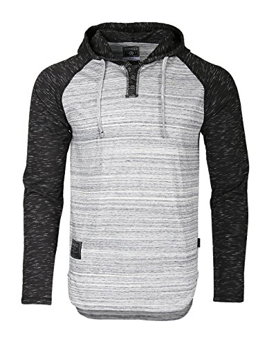 Zimego Long Sleeve Raglan Henley Hoodie Round Bottom Semi Longline T-Shirt (Large, ZFLS140H HGrey Fulfilled By Amazon)