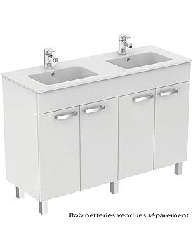 Meuble Salle De Bain Double Vasque 120 Cm 4 Portes