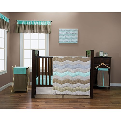 - Trend Lab Cocoa Mint Collection 5-Piece Crib Bedding Set