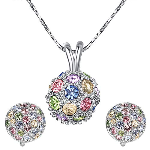 Yoursfs Round Colorful Cubic Zirconia Crystal Rhinestone Clip Earrings and Necklace Bridal Jewelry Sets