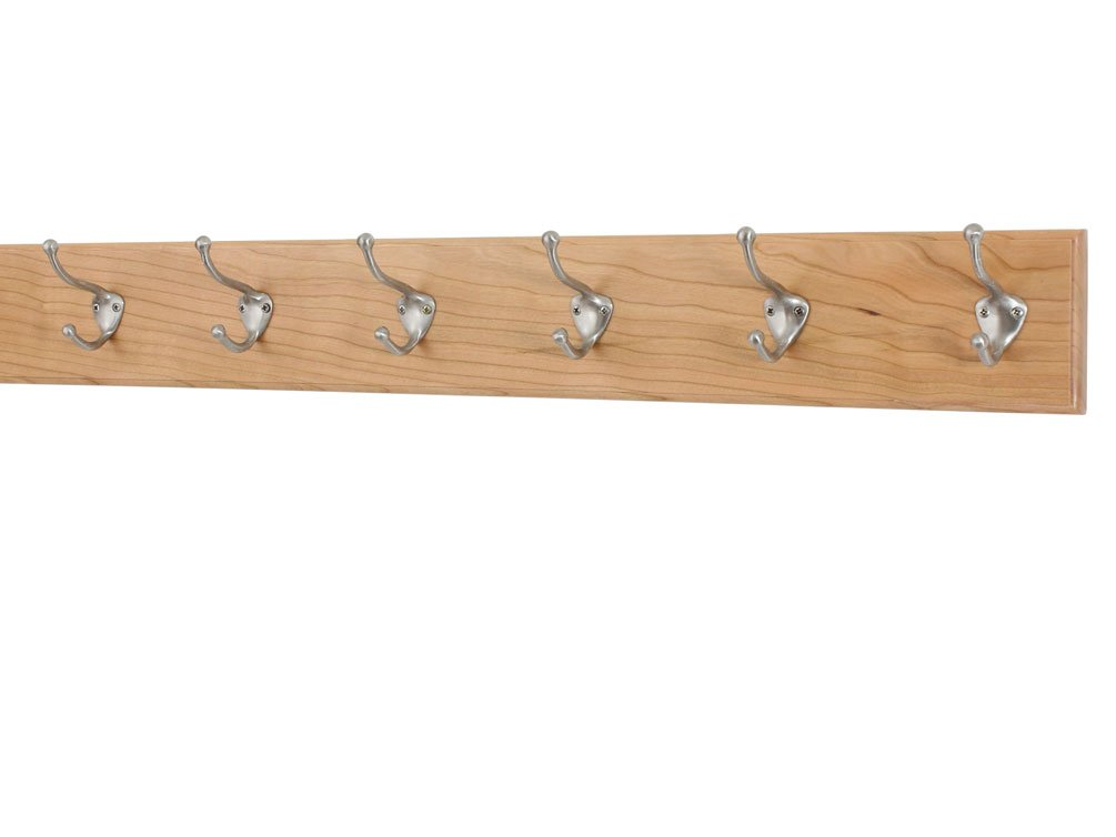 Solid Cherry Wall Mounted Coat Rack with Satin Nickle Hat &Coat Style Coat Hooks 4.5'' Ultra Wide - Made in the USA (Natural, 4.5'' x 30.5'' with 6 hooks)