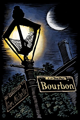 New Orleans, Louisiana - Bourbon Street Lamppost - Scratchboard (9x12 Art Print, Wall Decor Travel ()