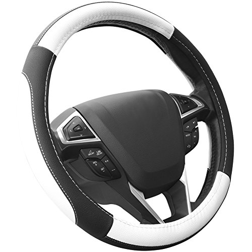 SEG Direct Black and White Microfiber Leather Auto Car Steering Wheel Cover Universal 15 ()