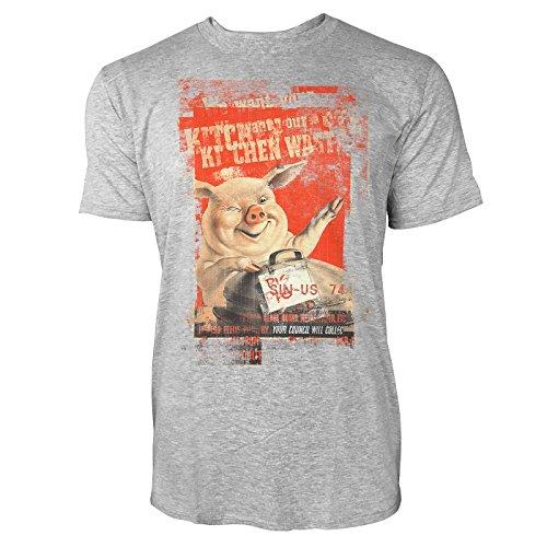 SINUS ART® Happy Pig Herren T-Shirts stilvolles hellgraues Cooles Fun Shirt mit tollen Aufdruck
