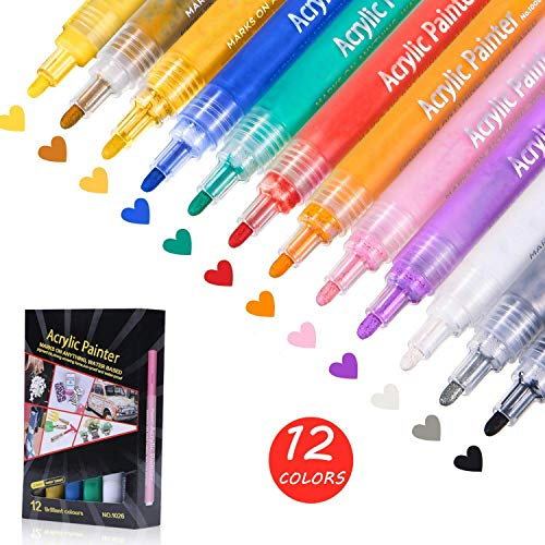 12 PCS Acrylic Paint Markers Paint Pens for Rocks, Wood, Metal, Glass, Plastic, Canvas and Ceramic Works on Almost All Surfaces, Medium Tip Paint Pen Quick Dry, Water Resistant (Best Markers For Canvas)