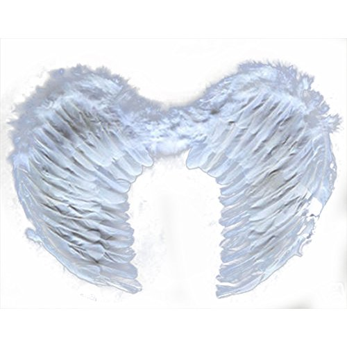CHN'S Kids Child Angel Feather Wings Costume Party Stage Perform Elastic Hanger (Large White Feather Angel Wings)