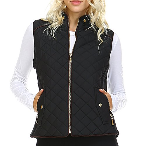 Fashionazzle Women's Lightweight Suede Contrast Quilted Zip Up Vest Jacket (Large, Black)