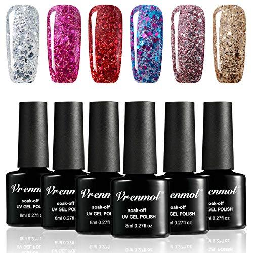 Vrenmol Gel Nail Polish Set 6pcs Soak Off UV LED Diamond Nail Lacquer Glitter Nail Art Manicure Kit 8ml