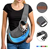 YUDODO Pet Dog Sling Carrier Breathable Mesh Travel Safe Sling Bag Carrier for Dogs Cats (S(up to 5 lbs), Sky