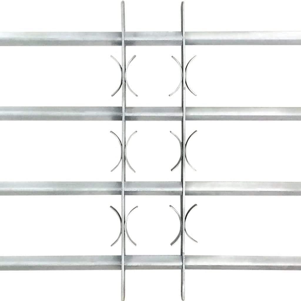 Wakects Grille de D/éfense Ajustable /à 3 Traverses Grilles de Fen/être Barreaux de Protection R/églable pour Fen/être Protection en Acier Galvanis/é Grilles de S/écurit/é pour Fen/être de 700-1050 mm