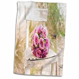 3D Rose Shabby Chic Image with Country Chair N Pink Roses.Jpg Hand/Sports Towel, 15 x 22