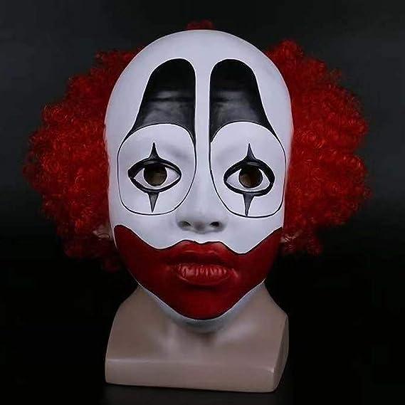 DbuzRztbrpn Máscara de látex Espectáculo de Disfraces de Halloween Peluca Payaso Parodia Apoyos de Miedo Mundo Animal Máscara de Payaso de Pelo Rojo: Amazon.es: Hogar
