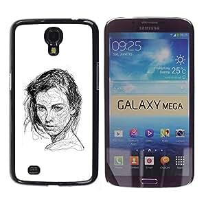 """For Samsung Galaxy Mega 6.3 Case , Chica Negro Pen bosquejo blanco del dibujo del arte"""" - Diseño Patrón Teléfono Caso Cubierta Case Bumper Duro Protección Case Cover Funda"""