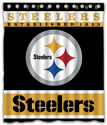 Sonaby Custom Pittsburgh Steelers Waterproof Fabric Shower Curtain For Bathroom Decoration (60x72 Inches)