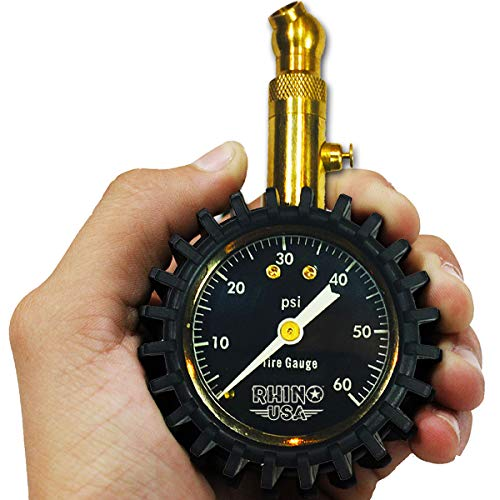 """Rhino USA Heavy Duty Tire Pressure Gauge (0-60 PSI) - Certified ANSI B40.1 Accurate, Large 2"""" Easy Read Glow Dial, Solid Brass Hardware, Best Any Car, Truck, Motorcycle, RV…"""