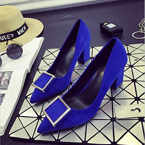 del Gruesos Blue Rojo de Tamaño Negros Yukun Mujer Zapatos 38 Rojo La Altos alto con Profunda Código Femeninos De zapatos tacón Poco Boca Tacones gnqw8Hf