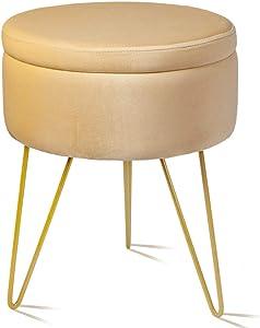 Velvet Storage Footrest Stool Dressing Upholstered Vanity Chair Round Ottoman with Golden Metal Legs for Home Living Room Bedroom, Beige