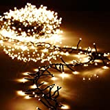 Christmas Cluster Lights Battery Operated 15 Foot Garland with 120 Warm White Lights on Green Wire with Remote Control - Raz Exclusive Twinkle Function