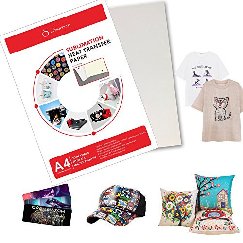 A4 Sublimation Ink Transfer Paper BossTop (100 sheets) 8.27'' x 11.7'' For HP,EPSON ME Series,RICOH GX Series And SAWGRASS Inkjet Printers by BossTop