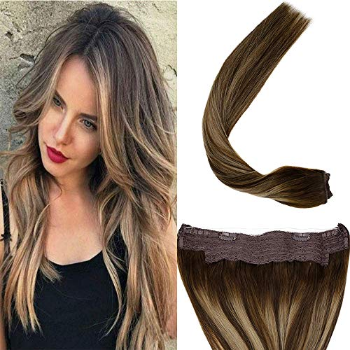 LaaVoo Secret Wire Hair Extensions- Flip on Human Hair Balayage Hair Color Dark Brown to Ash Blonde and Brown Straight Double Weft Halo Extension 80g/Pack 11inch Width