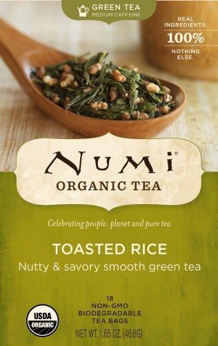 Numi Organic Tea Toasted Rice, Full Leaf Sencha Green Tea, 18-Count non-GMO Tea Bags (Pack of 3) (Rice Tea Numi compare prices)