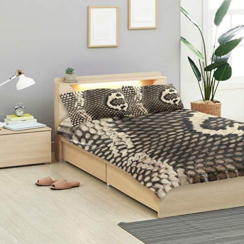 - IDO Cobra Snake Skin Kids Bedding Comforter Cover Sets Ultra Soft Crystal Velvet Cotton Satin Hotel Collection-Decorative 3 Piece Bedding Set with 2 Pillow Shams, Multicolor