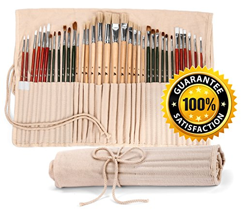 36 Paint Brushes for Painting Acrylic, Oil, Watercolor with Art Supplies Carry Pouch - Long Handle Paint Brush Set / Kit With Holder