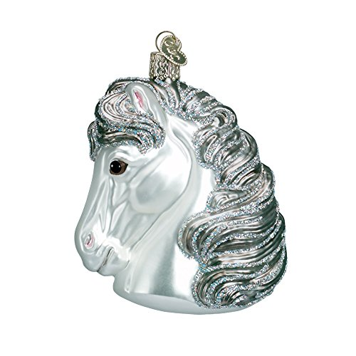 (White Horse Head Blown Glass Christmas Ornament by Old World Christmas)