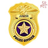 AKITSUMA Police Stickers, Badge Stickers, Toy Police Badge Sticker, Jr Police Sticker, for School Education, Community Events, Kids Party, Parades and Park Events, US-AKI-005 (Gold)