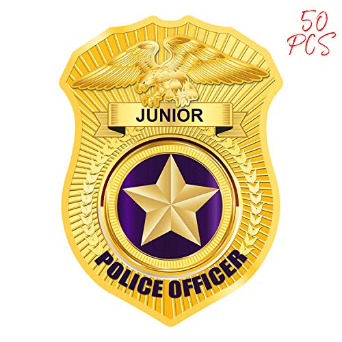 AKITSUMA Police Stickers, Badge Stickers, Toy Police Badge Sticker, Jr Police Sticker, for School Education, Community Events, Kids Party, Parades and Park Events, US-AKI-005 (Gold) ()
