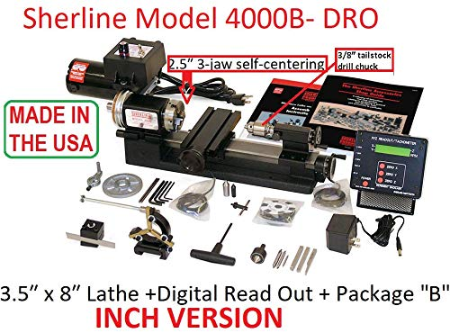 Sherline 4000B-DRO Inch Version Lathe with Factory Installed DRO + The B Package. (CNC Upgrade not Included but can be Purchase Separately.) ()