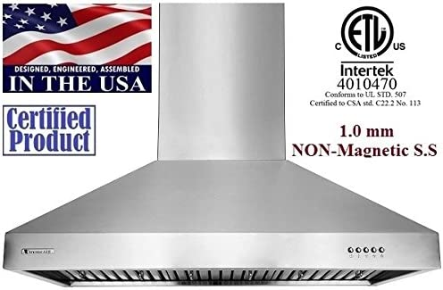 Wall Mount Range Hood Baffle Filters W//Grease Drain Tunnel 1.0mm Non-Magnetic Stainless Steel Seamless Body 30 wide XtremeAir Ultra Series UL03-W30 LED lights