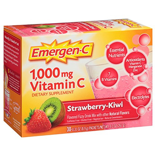 Emergen-C (30 Count, Strawberry-Kiwi Flavor, 1 Month Supply) Dietary Supplement Fizzy Drink Mix with 1000mg Vitamin C, 0.31 Ounce Packets, Caffeine (Kiwi Mix)