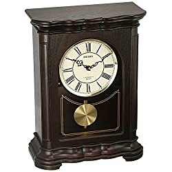 Seiko ' Mantel-Musical' Wood Shelf Clock, Color:Dark Brown (Model: QXW242BLH)