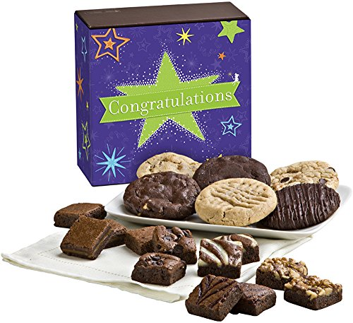 Fairytale Brownies Congratulations Cookie & Magic Morsel Combo Gourmet Food Gift Basket Chocolate Box - 1.5 Inch x 1.5 Inch Bite-Size Brownies and 3.25 Inch Cookies - 18 - Baskets Cookie Congratulations