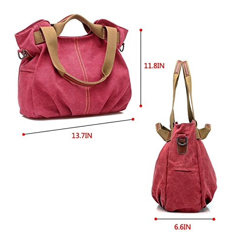 Canvas Handbag Tote RED Totes CY Shoulder Women's Bag Messenger Bag Casual Purse Travel Bag Shopping wxEqUBTq