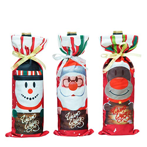 Wine Party Bottle (SpringSeaon Item Christmas Wine Bottle Bag Cover Cute Xmas Santa Claus Reindeer Snowman Adorable Red White Wine Bottle Covers for Holiday Party Decorations - A Set of 3 pcs)